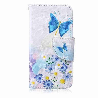 elma itouch 5 6 ipod kılıfları / örtüleri için mavi kelebek boyama pu telefonu çantası