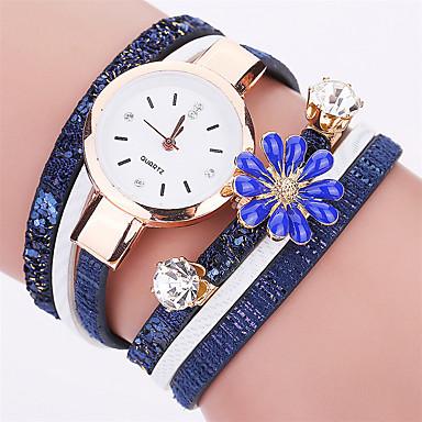 Bayanların Moda Saat Gündelik Saatler Bilezik Saat Quartz / PU Bant Çiçekli Havalı Günlük Siyah Beyaz Mavi Kırmızı GriBeyaz Siyah Gri