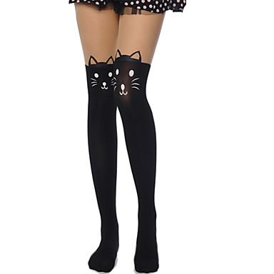 Uyluk Yüksekliğinde Çoraplar Çoraplar Sweet Lolita Lolita See Through Kadın's Siyah Lolita Aksesuarları Desen Kedi Uzun Çorap Kadife
