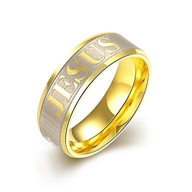 Férfi Eljegyzési gyűrű Gyűrű Személyre szabott kezdeti ékszerek Európai Rozsdamentes acél Arannyal bevont Jelmez ékszerek Esküvő Parti
