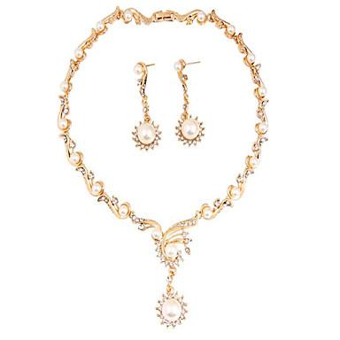 여성용 합성 다이아몬드 진주 파티 일상 캐쥬얼 1 목걸이 1 쌍의 귀걸이 의상 보석