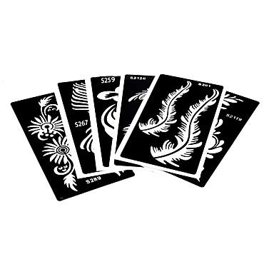 6 pi ces creuses tatouage au henn pochoir fleur de plume dessin pour la beaut des femmes art. Black Bedroom Furniture Sets. Home Design Ideas