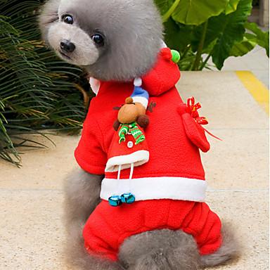 Cica Kutya Jelmezek Kapucnis felsőrész Kutyaruházat Egyszínű Piros Polár gyapjú Jelmez Háziállatok számára Férfi Női Bájos Karácsony