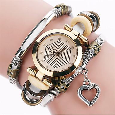 Kadın's Gündelik Saatler Moda Saat Bilezik Saat Quartz / PU Bant Heart Shape Vintage Günlük Havalı Siyah Beyaz Mavi Kırmızı Kahverengi