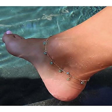 Kadın Ayak bileziği/Bilezikler Turkuaz alaşım Elyapımı Boncuklar Avrupa Mücevher Uyumluluk Günlük
