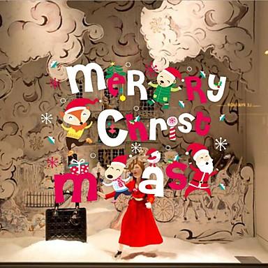 크리스마스 / 워드&인용구(부호) / 휴일 벽 스티커 플레인 월스티커 데코레이티브 월 스티커,PVC 자료 이동가능 / 재부착가능 홈 장식 벽 데칼