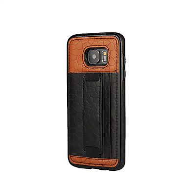 Etui Käyttötarkoitus Samsung Galaxy S7 edge S7 Korttikotelo Iskunkestävä Takakuori Yhtenäinen väri Pehmeä PU-nahka varten S7 edge S7 S6