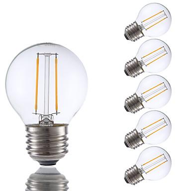 2W E26 LED Filament Bulbs G16.5 2 COB 200 lm Warm White Dimmable 120V 6 pcs