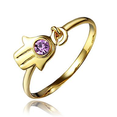Női Gyűrű Kocka cirkónia Arannyal bevont 18K arany Ékszerek Kompatibilitás Esküvő Parti Napi Hétköznapi