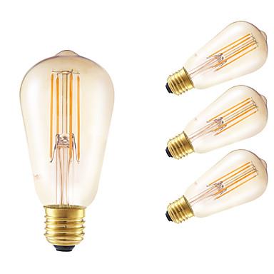 E26/E27 LED-hehkulamput ST58 4 COB 550 lm Amber Himmennettävissä Koristeltu AC 220-240 V 4 kpl