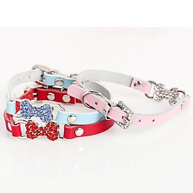 كلب ياقة قابل للسحبقابل للتعديل مزيك عظم حجر الراين جلد PU أحمر أزرق زهري