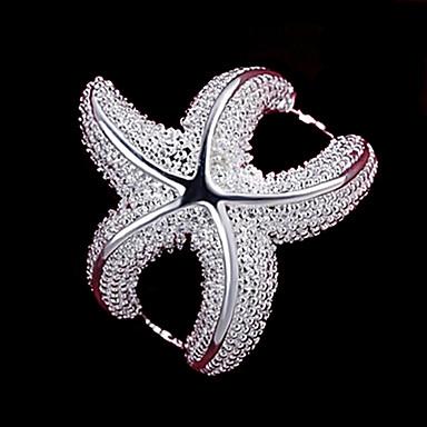 Kadın's Bildiri Yüzüğü - Som Gümüş Denizyıldızı Moda 6 / 7 / 8 Gümüş Uyumluluk Düğün Parti Günlük