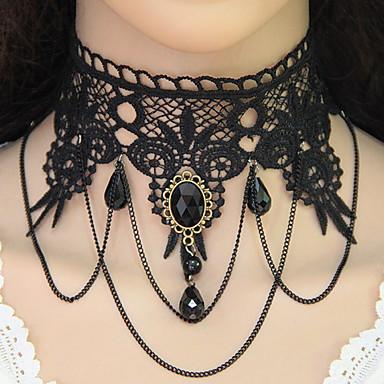 Pentru femei Coliere Choker / tatuaj cravată  -  Dantelă Picătură Stil Tatuaj, Ciucure, European Negru Coliere Pentru Petrecere