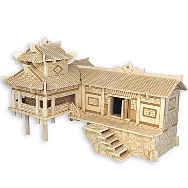 puzzle-uri Puzzle Lemn Blocuri de pereti DIY Jucarii Arhitectura Chineză Casă 1 Lemn Cristal Jucărie de Construit & Model