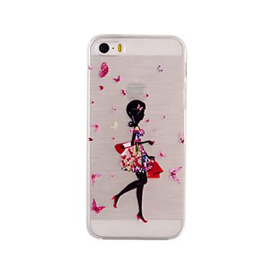 Voor iPhone 5 hoesje Ultradun / Transparant / Patroon hoesje Achterkantje hoesje Sexy dame Zacht TPU iPhone SE/5s/5