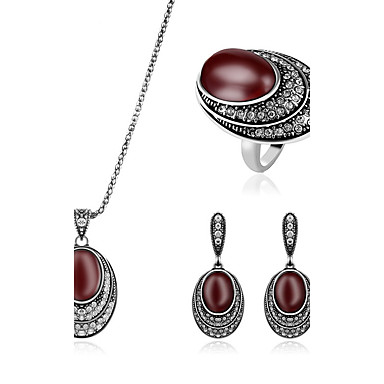 للمرأة روبي الاصطناعية مجموعة مجوهرات - تقليد الماس ترف تتضمن أحمر داكن من أجل زفاف / حزب / يوميا / الحلقات