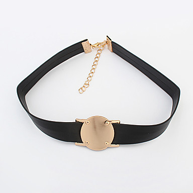 Κολιέ Κολιέ Τσόκερ Κοσμήματα Causal Round Shape Γεωμετρικό Κράμα Δερμάτινο Γυναικεία 1pc Δώρο Χρυσαφί Μαύρο
