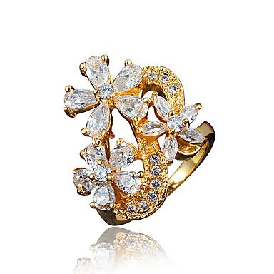 نساء خاتم مكعب زركونيا مطلية بالذهب 18K الذهب مجوهرات من أجل زفاف حزب يوميا فضفاض