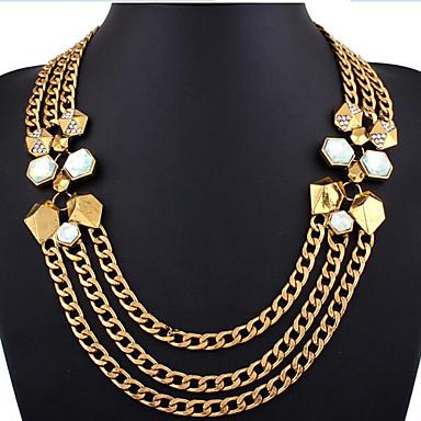 للمرأة حجر الراين تصفيح بطلاء الفضة مطلية بالذهب تقليد الماس قلادات السلسلة القلائد بيان - ترف متعدد الطبقات عبارة موضة بانغك ذهبي فضي
