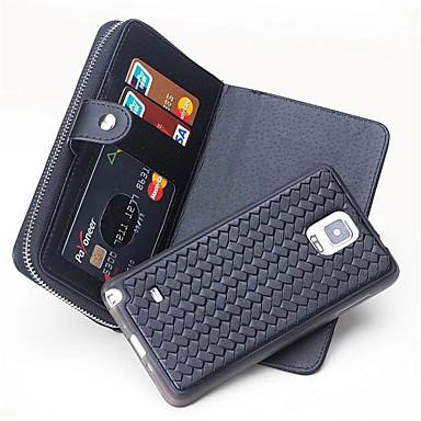 Για Πορτοφόλι / Θήκη καρτών tok Πλήρης κάλυψη tok Μονόχρωμη Σκληρή Γνήσιο δέρμα για Samsung Note 5 / Note 4