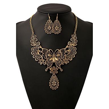 Σετ Κοσμημάτων Κράμα Animal Shape Πεταλούδα Χρυσό Ασημί 1 Κολιέ 1 Ζευγάρι σκουλαρίκια Για Γάμου Πάρτι Καθημερινά Causal 1set Δώρα Γάμου
