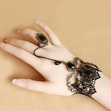 Damskie Bransoletka z pierścionkiem Vintage Serce Gotyckie Koronka Serce Kwiat Biżuteria Halloween