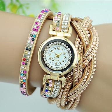Damskie Zegarek na bransoletce Modny Kwarcowy Stras Kolorowy sztuczna Diament Skóra Pasmo Urok Kwiat Czarny Biały Niebieski Różowy