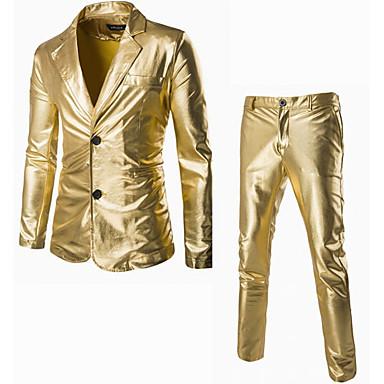 זול ביגוד אופנתי לגברים-אחיד דש קלאסי פשוטה סגנון רחוב יום יומי\קז'ואל חליפות גברים,סתיו חורף שרוול ארוך שחור זהב כסף כותנה