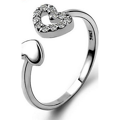 Women's Ring Personalized Love Heart Fashion Adjustable Open Sterling Silver Cross Heart Jewelry Casual