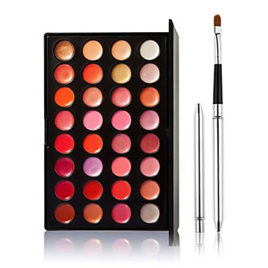 32 Gloss Labial+Pincéis de Maquiagem Molhado Lábios Gloss com Purpurina Brilhante Gloss Colorido Longa Duração Natural Respirável