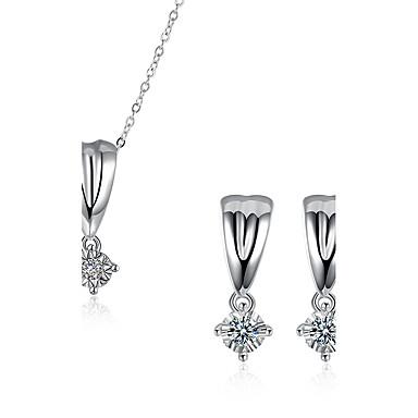 Bijuterii 1 Colier 1 Pereche de Cercei Petrecere Zilnic Zirconiu Cubic Articole de ceramică Argilă 1set Dame Argint Cadouri de nunta