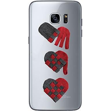 Etui Käyttötarkoitus Samsung Galaxy S7 edge S7 Ultraohut Läpinäkyvä Kuvio Takakuori Sydän Pehmeä TPU varten S7 edge S7 S6 edge plus S6