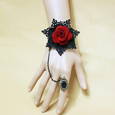 Damskie Koronka Kwiat Bransoletka z pierścionkiem - Vintage Gotyckie Czerwony Bransoletki Na Halloween