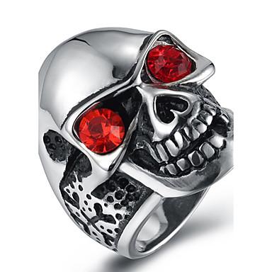 Miesten Cubic Zirkonia Zirkoni Sormus Statement Ring - Muoti Musta Punainen Sininen Rengas Käyttötarkoitus Halloween Päivittäin