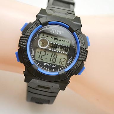 Παιδικά Αθλητικό Ρολόι Ψηφιακό ρολόι Χαλαζίας Ψηφιακό Ημερολόγιο Νυχτερινή λάμψη Δέρμα Μπάντα Μαύρο