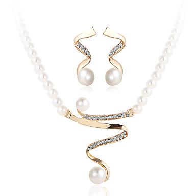 كريستال مجموعة مجوهرات - اللؤلؤ, لؤلؤ تقليدي, حجر الراين ترف تتضمن ذهبي من أجل زفاف / حزب / فضفاض / تقليد الماس