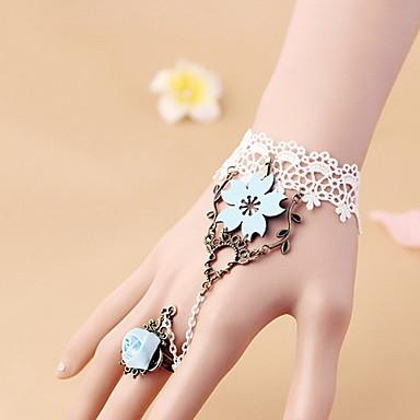 Damskie Bransoletka z pierścionkiem Vintage Gotyckie Koronka Kwiat Biżuteria Halloween