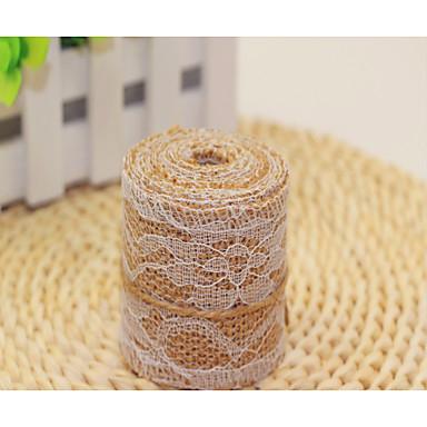 Doğal 50x50 yeni jüt keten dantel dantel kumaş rulo yılbaşı süsleri iki metre hacmi