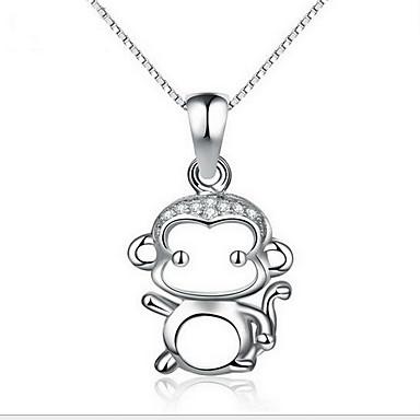 Naszyjniki z wisiorkami Biżuteria Round Shape Animal Shape Małpka Srebro standardowe Klasyczny Zwierzęta Modny Biżuteria Na Codzienny
