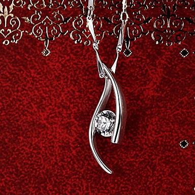 Kolye Uçları Som Gümüş Zirkon Kübik Zirconia imitasyon Pırlanta Basic Tasarım Eşsiz Tasarım Moda Gümüş Mücevher Günlük 1pc