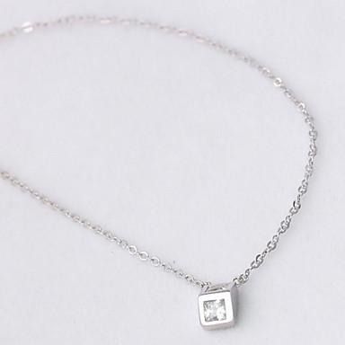 billige Mode Halskæde-Dame Halskædevedhæng Smykker Firkantet form Sølv Mode Smykker Til Daglig Afslappet