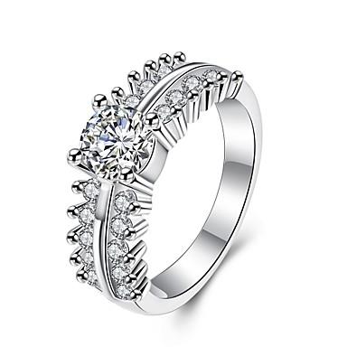 عصابة مكعب زركونيا يوميا فضفاض مجوهرات زركون نحاس تصفيح بطلاء الفضة نساء خاتم 1PC,7 8 فضة