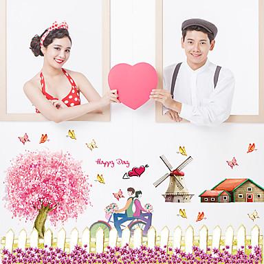 Romantizm Moda Çiçekler Duvar Etiketler Uçak Duvar Çıkartmaları Dekoratif Duvar Çıkartmaları,Kağıt Malzeme Ev dekorasyonu Duvar Çıkartması