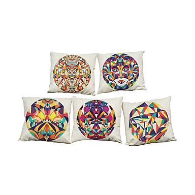 5 szt Bielizna Naturalne / ekologiczne Poszewka na poduszkę,Stały Textured Przypadkowy Retro Tradycyjny / Classic Wałek Euro Styl plażowy