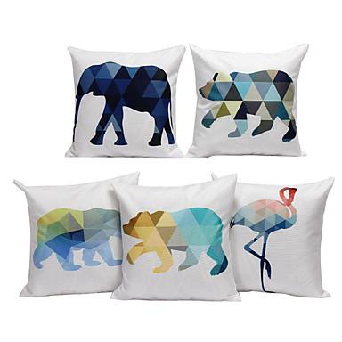 5 szt Cotton / Linen Poszewka na poduszkę, Geometryczny Wzór zwierzęcy Wzory graficzne Na co dzień Euro Modern / Contemporary