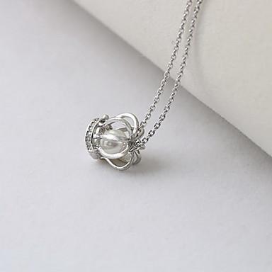 Damskie Naszyjniki z wisiorkami Biżuteria Crown Shape Perłowy Srebro standardowe Luksusowy Modny Europejski Biżuteria Na Codzienny Casual