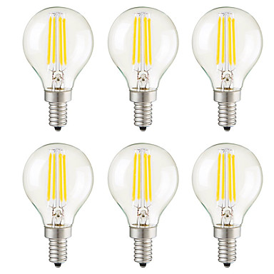 KWB 6pcs 3W 400 lm E14 E26/E27 E12 LED Filament Bulbs G45 4 leds COB Dimmable Decorative Warm White AC 110-130V AC 220-240V