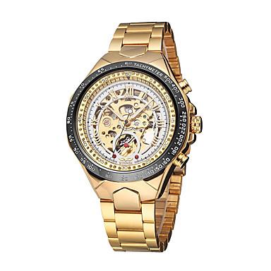 זול שעוני גברים-WINNER בגדי ריקוד גברים שעוני שלד שעון יד שעון מכני אוטומטי נמתח לבד מתכת אל חלד זהב 30 m עמיד במים חריתה חלולה זורח אנלוגי פאר וינטאג' מפואר - לבן שחור זהב /  כסף / tachymeter