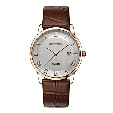 SANDA Pentru cupluri Ceas Elegant  Ceas La Modă Ceas de Mână Quartz Quartz Japonez Calendar Rezistent la Apă Piele Bandă Charm Negru Maro