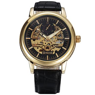 Bărbați Ceas Sport Ceas Elegant Ceas La Modă Ceas de Mână ceas mecanic Mecanism manual Calendar Piele Autentică Bandă Charm Casual